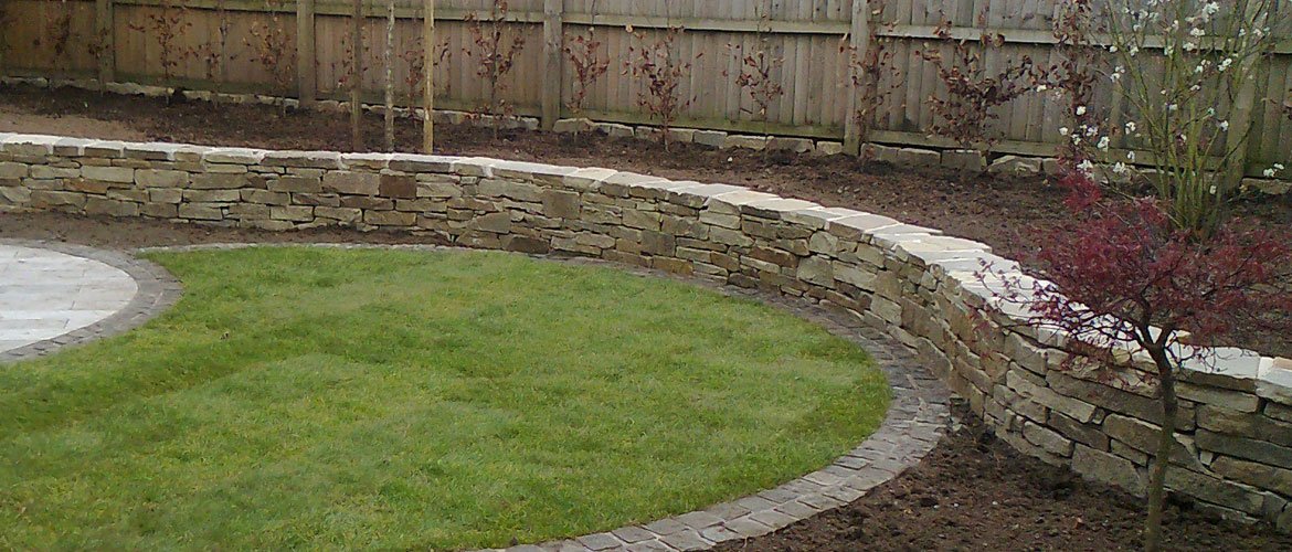 A curved garden wall